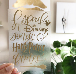 I Speak in Disney Songs & HP Quotes Vinyl