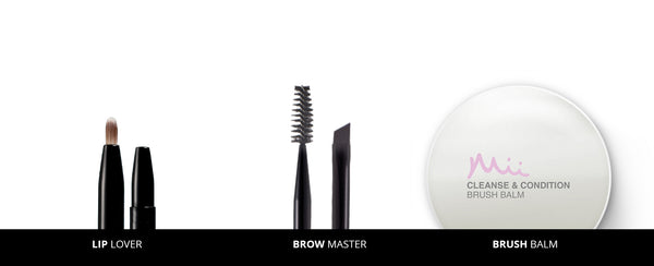 Mii Cosmetics Brow and Lip Brush with Brush Cleanser