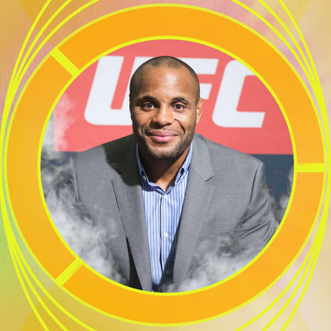 A collage photo of former UFC Heavyweight Champion Daniel Cormier to represent his cbdMD sponsorship.