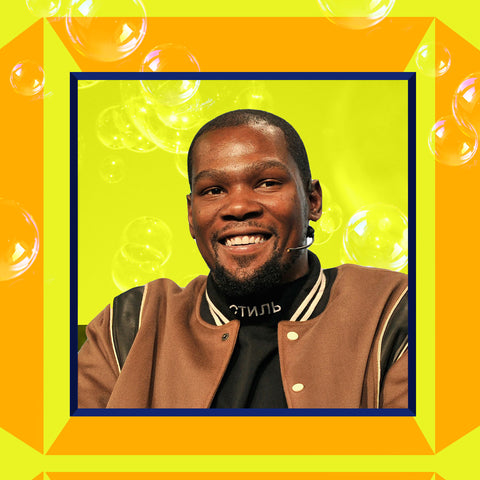 A photo collage of Kevin Durant, a current NBA player who invests in the Dutchie delivery company.