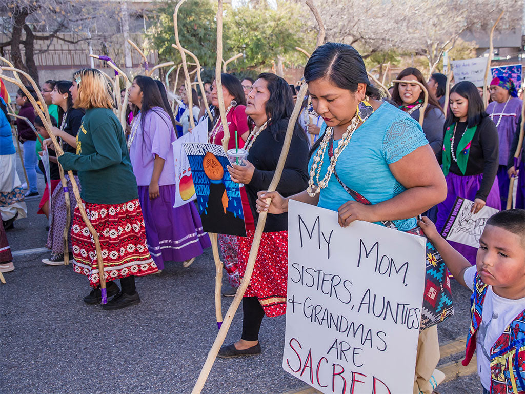 Tohono Indian Women led the Tucson 2019 Women's March with a show of strength, resilience and power. by Dulcey Lima