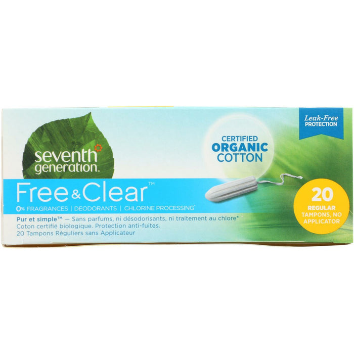 Free and Clear Regular Tampons - Applicator Free - 20 Pack
