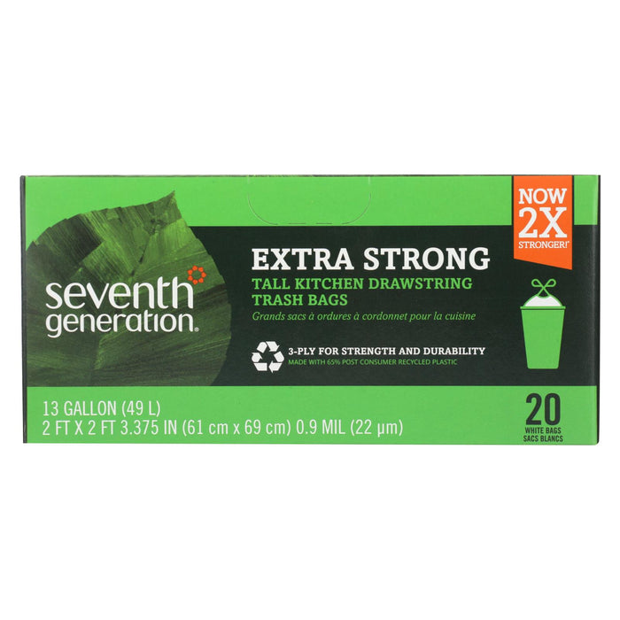 Extra Strong Tall Kitchen Trash Bags - 13 Gallon - Case Of 12 - 20 Count