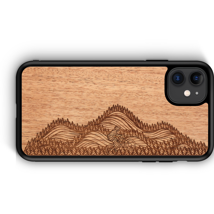 Wooden Phone Case | Outdoor Adventure - Mountain Biker