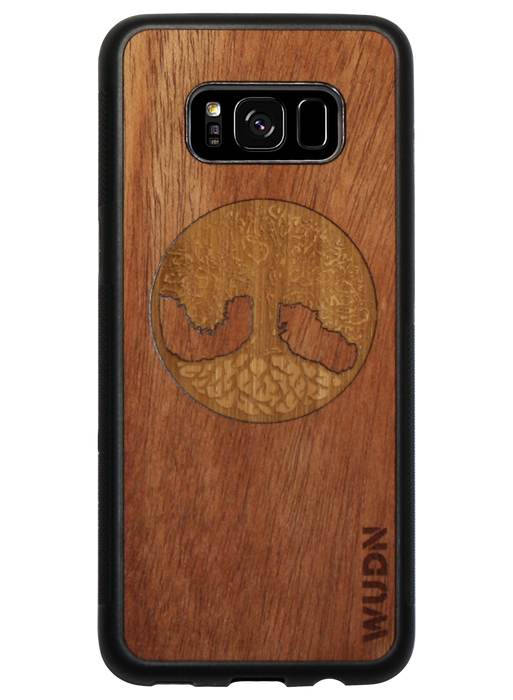 Slim Wooden Phone Case | Tree of Life (Mahogany & Bamboo Inlay)