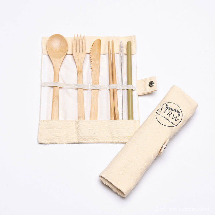 Portable Bamboo STRW Cutlery Set