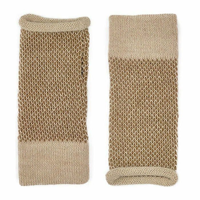 Camel Interwoven Alpaca Gloves