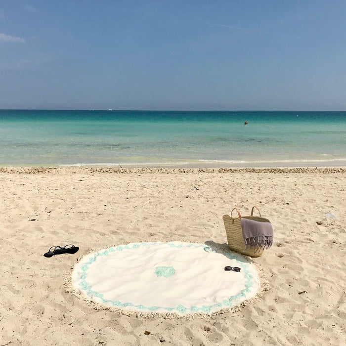 Mint Block Print Roundie Beach Blanket