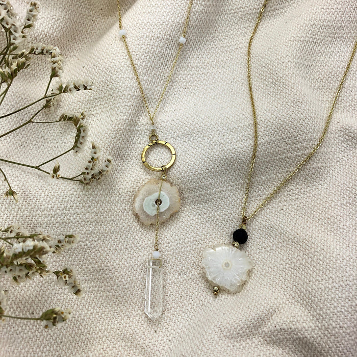 Solar Quartz + Crystal Y Necklace