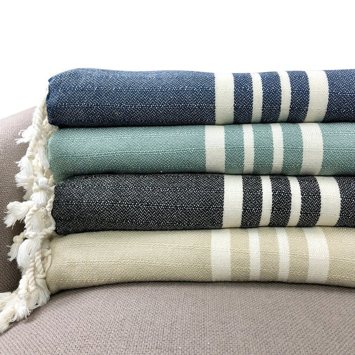 Green Nautical Stripe Turkish Throw