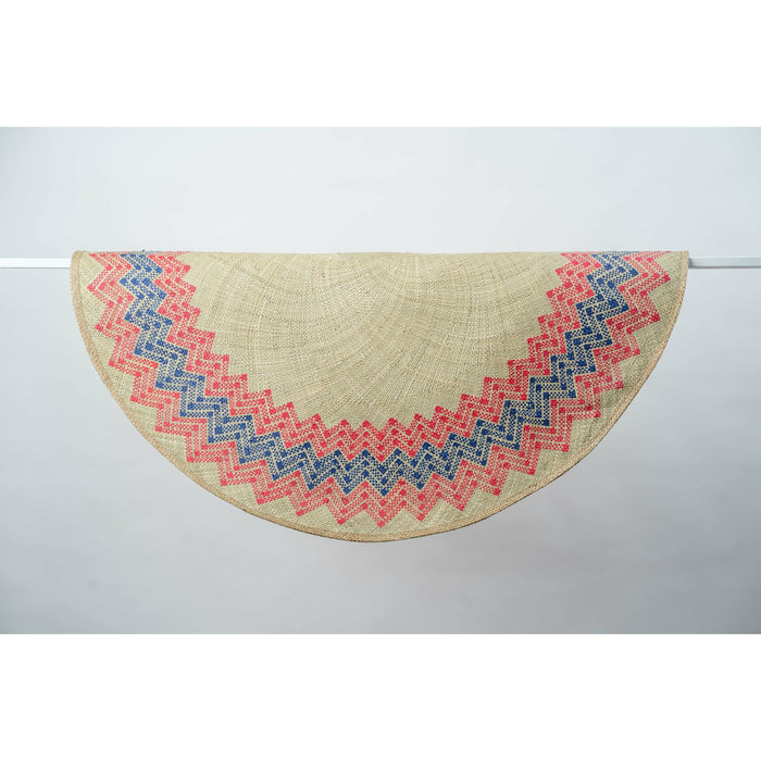 Sunburst Mat | 4' Round | Natural Base | Red + Blue