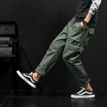 Men Cotton Cargo Pants Big Pocket Baggy Harajuku style Elastic Waist Ankle Length Trousers Khaki Army Green Curve Fitness