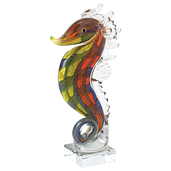 Mouth Blown Tall Seahorse Art Glass 8 Uniquely Living