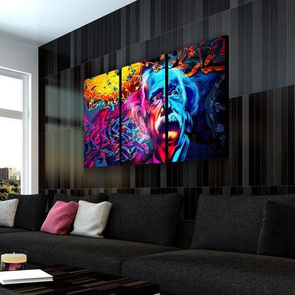 Psychedelic Einstein Abstract Canvas Wall Art