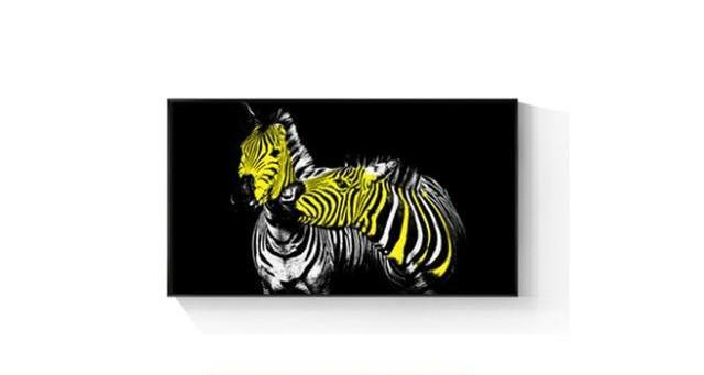 Abstract Yellow Zebra Couples Canvas Wall Art Uniquely Living