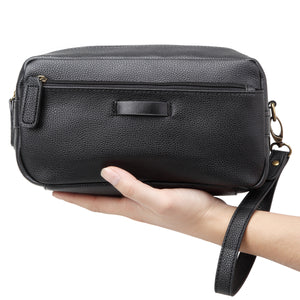 Mens Leather Travel Toiletry Bag