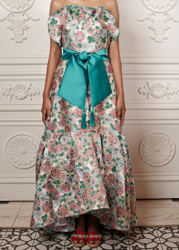 Alexa Floral Strapless Maxi Dress with ruffles and waist bow