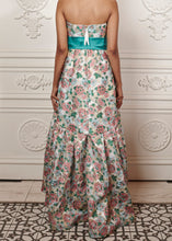 Load image into Gallery viewer, Alexa floral strapless maxi dress with ruffles and waist bow