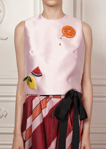 Maria Paula shell top with sequin fruit embellishment