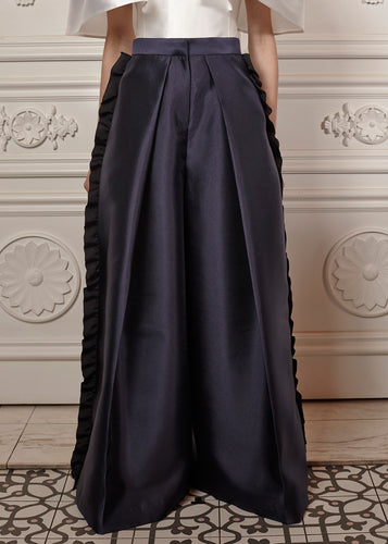 Luna oversized structured palazzo pants with side ruffles