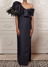 Load image into Gallery viewer, Draped Ruffled Off-shoulder Martina Gown with feather detailing and side slit
