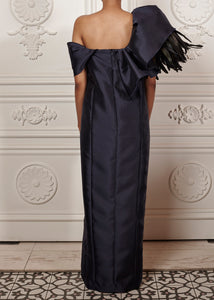 Draped Ruffled Off-shoulder Martina Gown with feather detailing and side slit