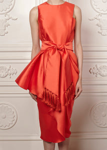 Juliana Fitted Dress with draped skirt detail and tasseled belt