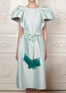 Julia midi dress with bell sleeves and tasseled belt