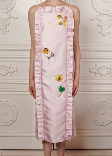 Isabella Midi Dress with ruffle trim and floral embellishment