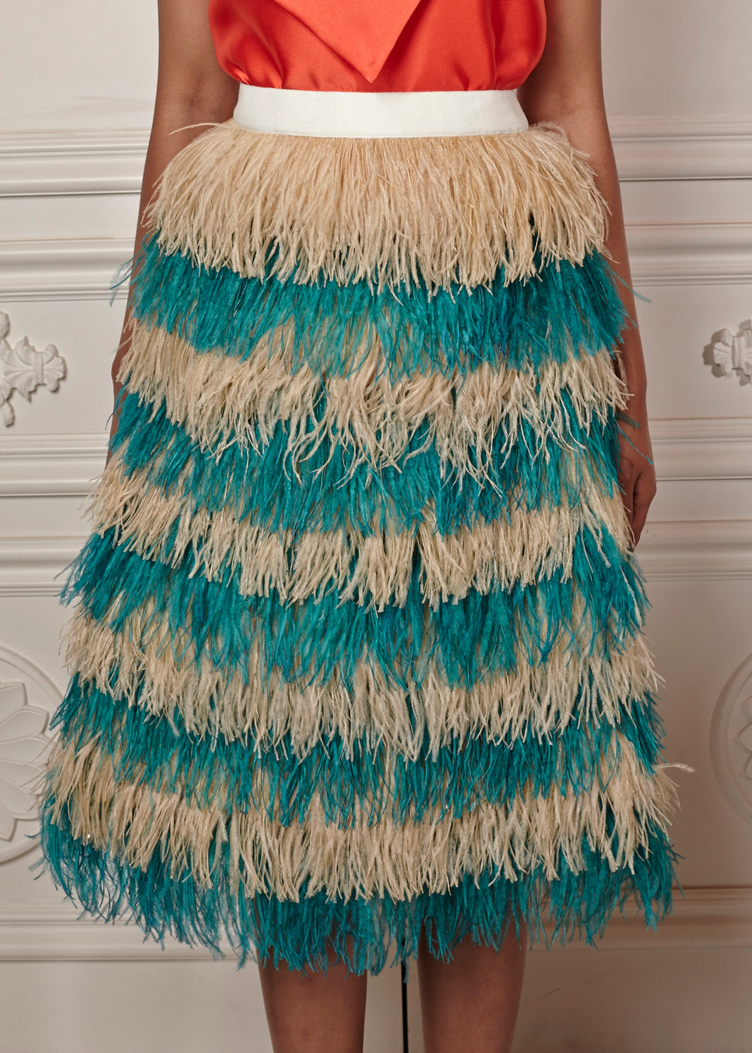 Regina Multi-Tiered Feather Midi Skirt