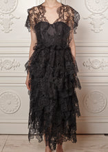 Load image into Gallery viewer, Mariana Multi-tiered Midi Dress in Lace with fitted bodice