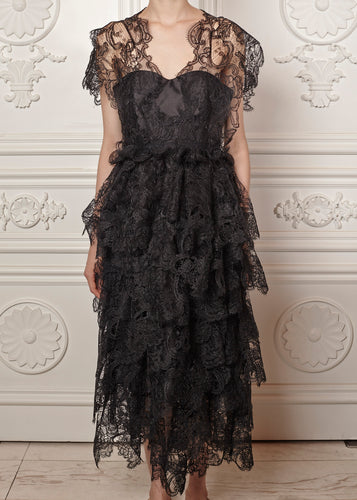 Mariana multi-tiered midi dress in lace with fitted bodice