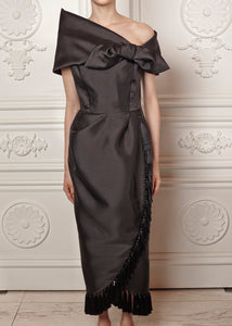 Clara draped dress with bow shoulder detail and tassel trim