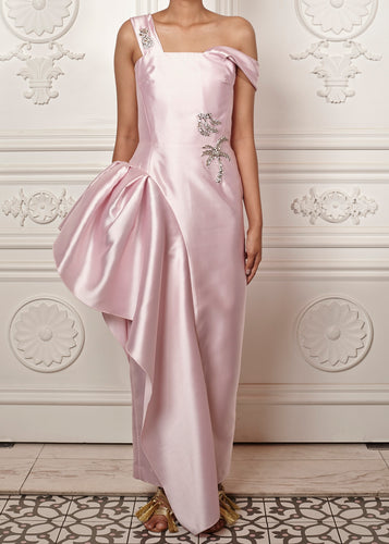 Ariana gown with side peplum and crystal embellishment