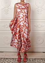 Load image into Gallery viewer, Rafaella Sleeveless Dress with side skirt draping, and deep v-back with bow