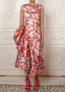 Rafaella sleeveless dress with side skirt draping, and deep v-back with bow