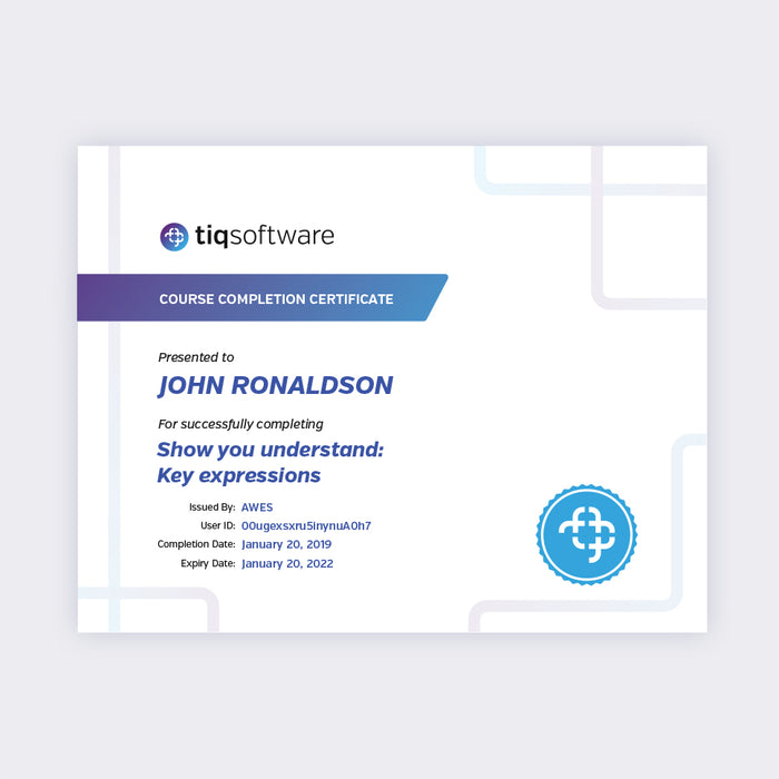 Understand with Key Expressions Course Completion Certificate