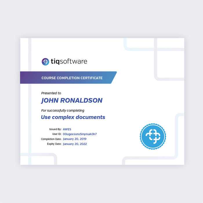 Use Complex Documents Course Completion Certificate