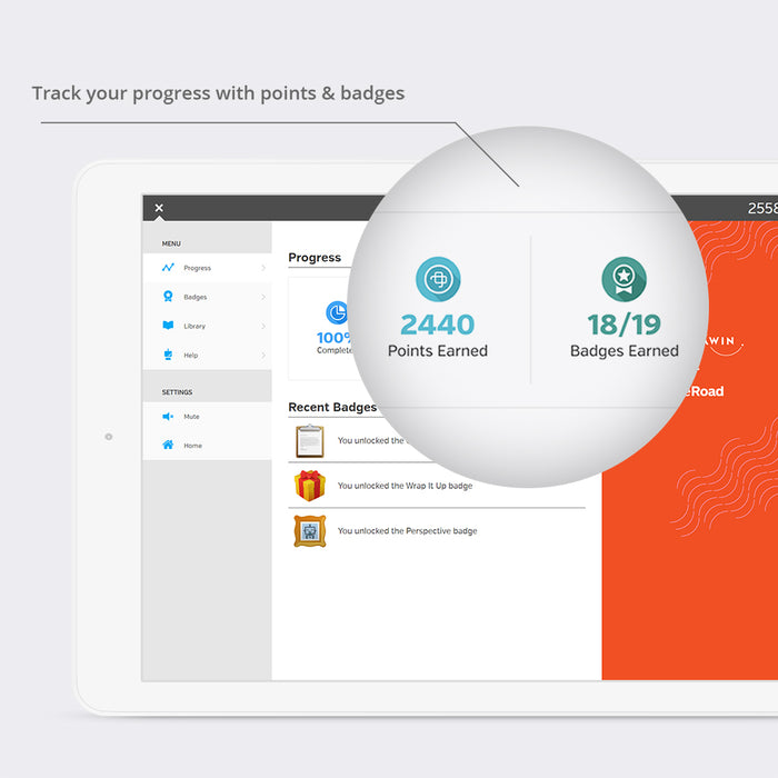 Track your progress with points and badges