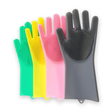 Load image into Gallery viewer, 2pcs/lot Silicone Dishwashing Gloves With Brush Hot Sale Gloves