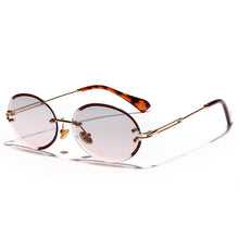 Load image into Gallery viewer, Rimless Sun Glasses Vintage Blue Lens Eyewears Trendy Oval Sunglasses