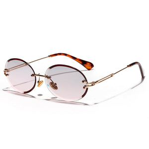Rimless Sun Glasses Vintage Blue Lens Eyewears Trendy Oval Sunglasses
