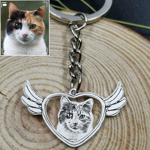 Personalized Angel Photo Keychain