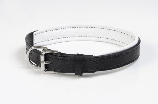 Leather Padded Collar Black/White