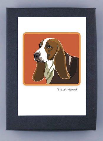 Paper Russells Boxed Note Cards - Basset Hound