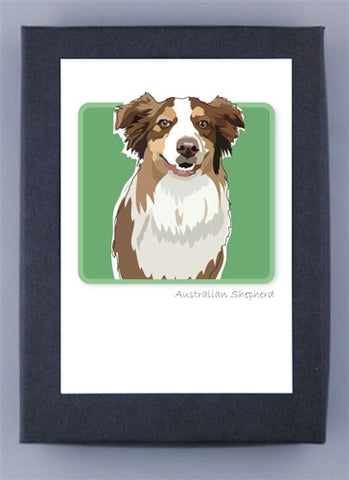 Paper Russells Boxed Note Cards - Australian Shepherd