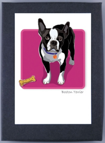 Paper Russells Boxed Note Cards - Boston Terrier