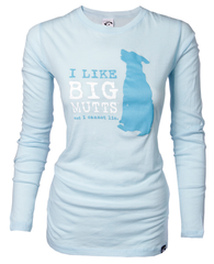 I Like Big Mutts Ladies Long Sleeved Shirt Baby Blue XXL