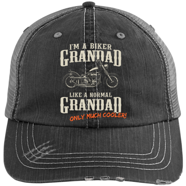 df78d513c21 Grandad Biker - Distressed Unstructured Trucker Cap