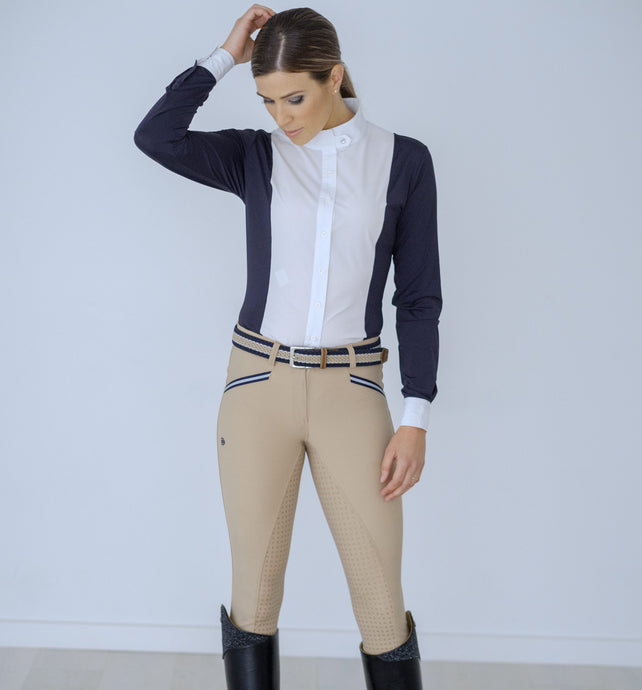 ADULT BEIGE BREECH WITH NAVY AND WHITE TAPE